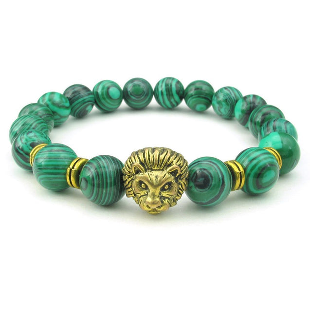 Malachite Men Bracelet, 10mm Natural Energy Gemstone Beads Bangle, Lion Charm, Green Gold - InnovatoDesign