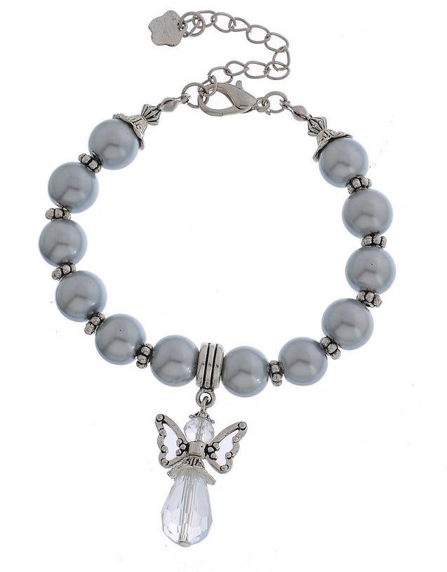 Faux Pearl Clear Rhinestone Beaded Angel Pendant Adjustable Charm Bracelet Silver Color