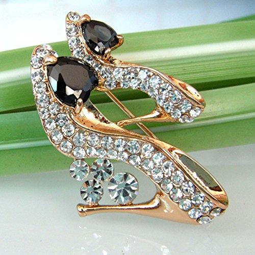 18k Gold Plated Black Cubic Zicon Austrian Crystal Shoes Az7773b Brooch Pin