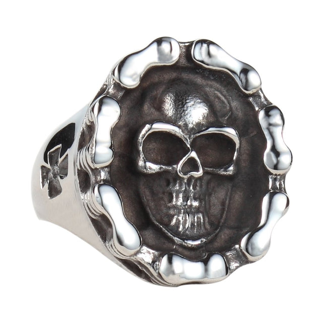 Men's 316l Stainless Steel Big Skull Ring Bike Chain Wrapped Polished Silver Black Tone