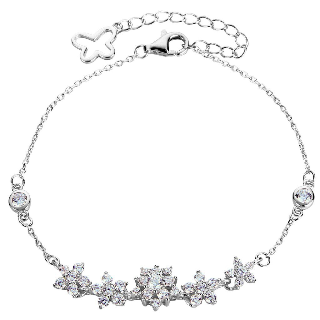 925 Sterling Silver Pave CZ Butterfly Hibiscus Flower Link Bracelet Clear