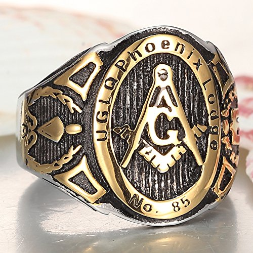 Men's 18k Gold Plated stainless steel Masonic Vintage Ring /Mason Signet Ring/G Mason Master Freemason Ring - InnovatoDesign