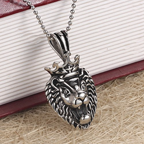 Men's 316L Stainless Steel Black silver Crown Lion King Biker Necklace Pendent With 24''Chain - InnovatoDesign