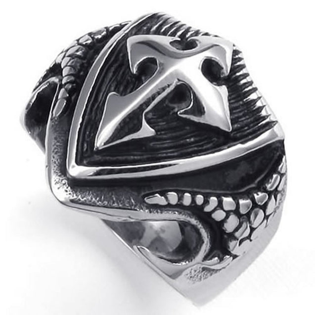 Vintage Stainless Steel Cross Shield Tribe Biker Men Ring - InnovatoDesign