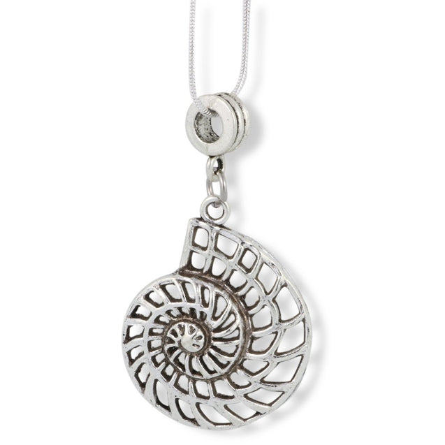 Large Nautilus Sea Shell Outline Charm Snake Chain Necklace - InnovatoDesign