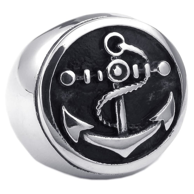 Men Stainless Steel Ring, Anchor Signet, Black - InnovatoDesign