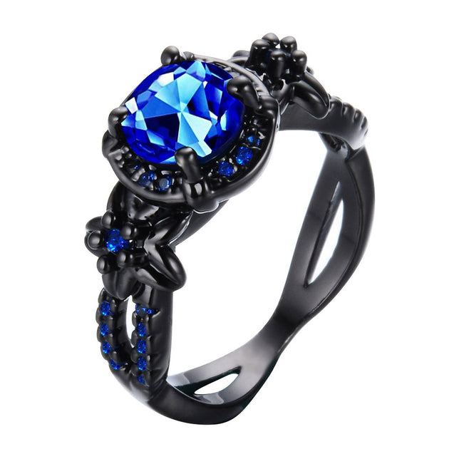 Jewelry Women's Lab Blue Bright Stone Ring Promise Wedding Engagement Gift Black Gold Plated Womens Rings Size 6-10 - InnovatoDesign