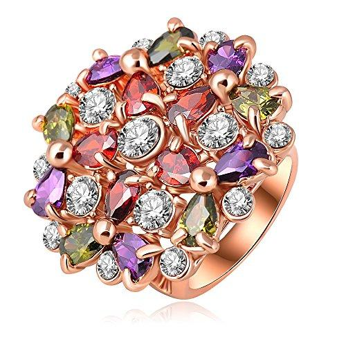 18k Gold Plated Flower Multi-color Zirconia Crystal Az0212r Ring (Available in Sizes 5.5 7 8 9 10)