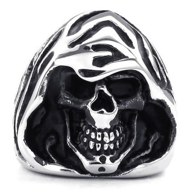 Men Stainless Steel Ring, Gothic Casted Grim Reaper Skull, Black