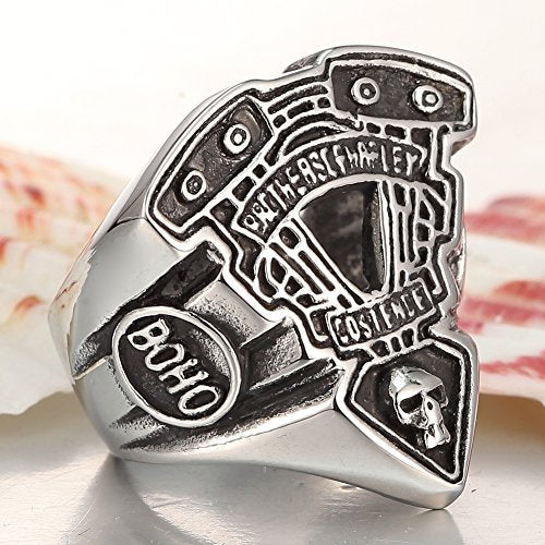 Men's 316L Stainless Steel Motorcycle Engine Biker Ring Black Silver