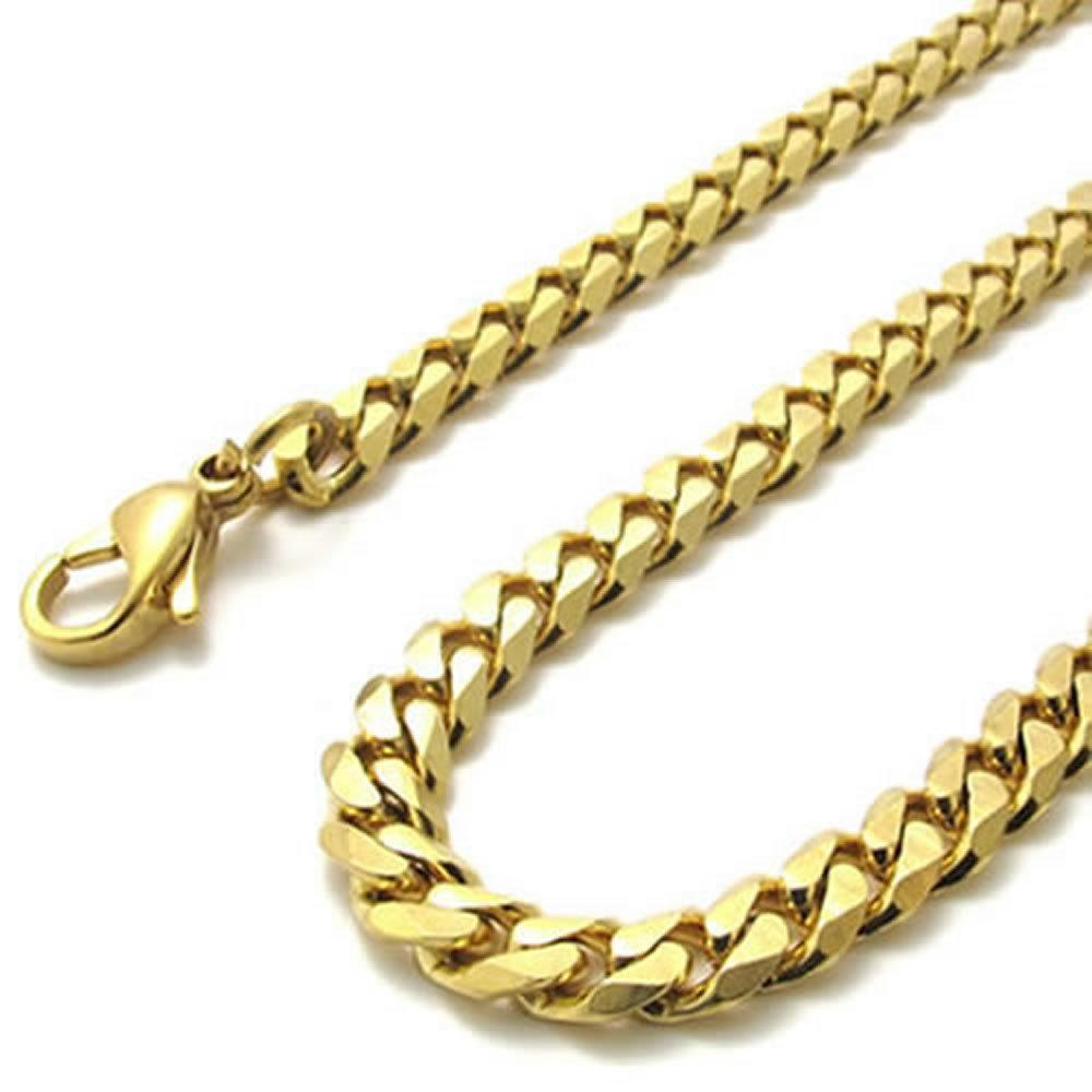 "6mm Gold Stainless Steel Men Necklace Chain 14-40"" inch, 6mm"
