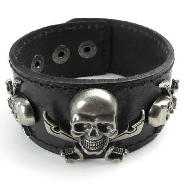 "Wide Leather Gothic Pirate Skull Men Bangle Cuff Bracelet, Fits 7"" to 8"", Black - InnovatoDesign"