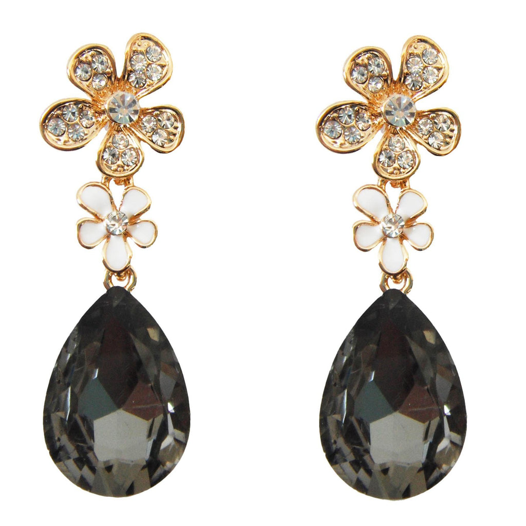 18k Gold Plated Crystal Flower Leaves Gray Pear-shaped Zirconia Az2407d Drop Dangle Earrings