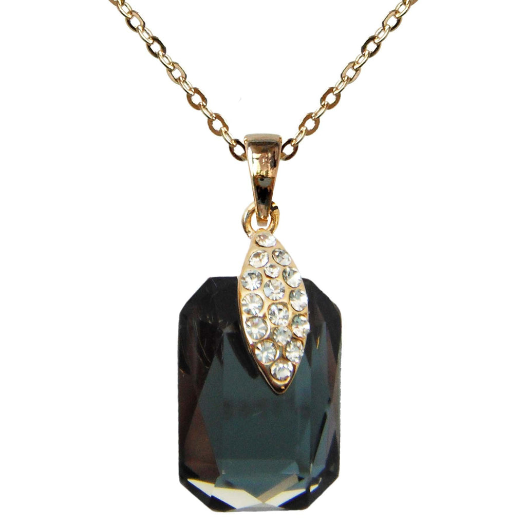 "18k Gold Plated Crystal Gray Square Zircon Az6043p Pendant Necklace 16""+2"""
