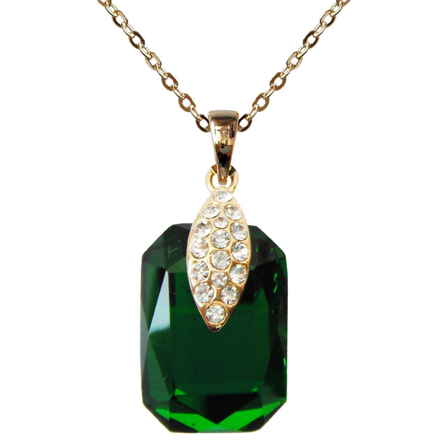 "18k Gold Plated Crystal Green Square Zircon Az6025p Pendant Necklace 16""+2"""