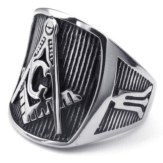 Men Stainless Steel Ring, Freemason Masonic, Black - InnovatoDesign