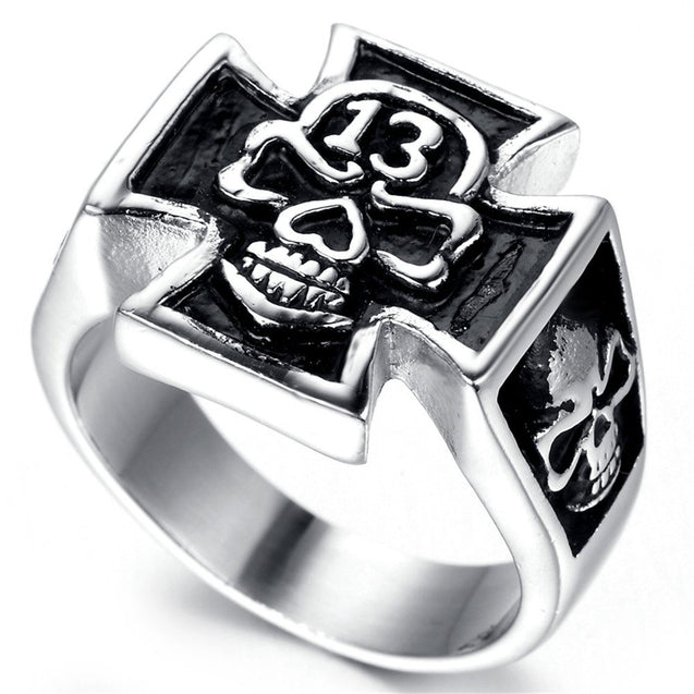 Jewelry Men Stainless Steel Ring, Vintage, Biker, Silver, Black, Thirteen, Cross, Skull