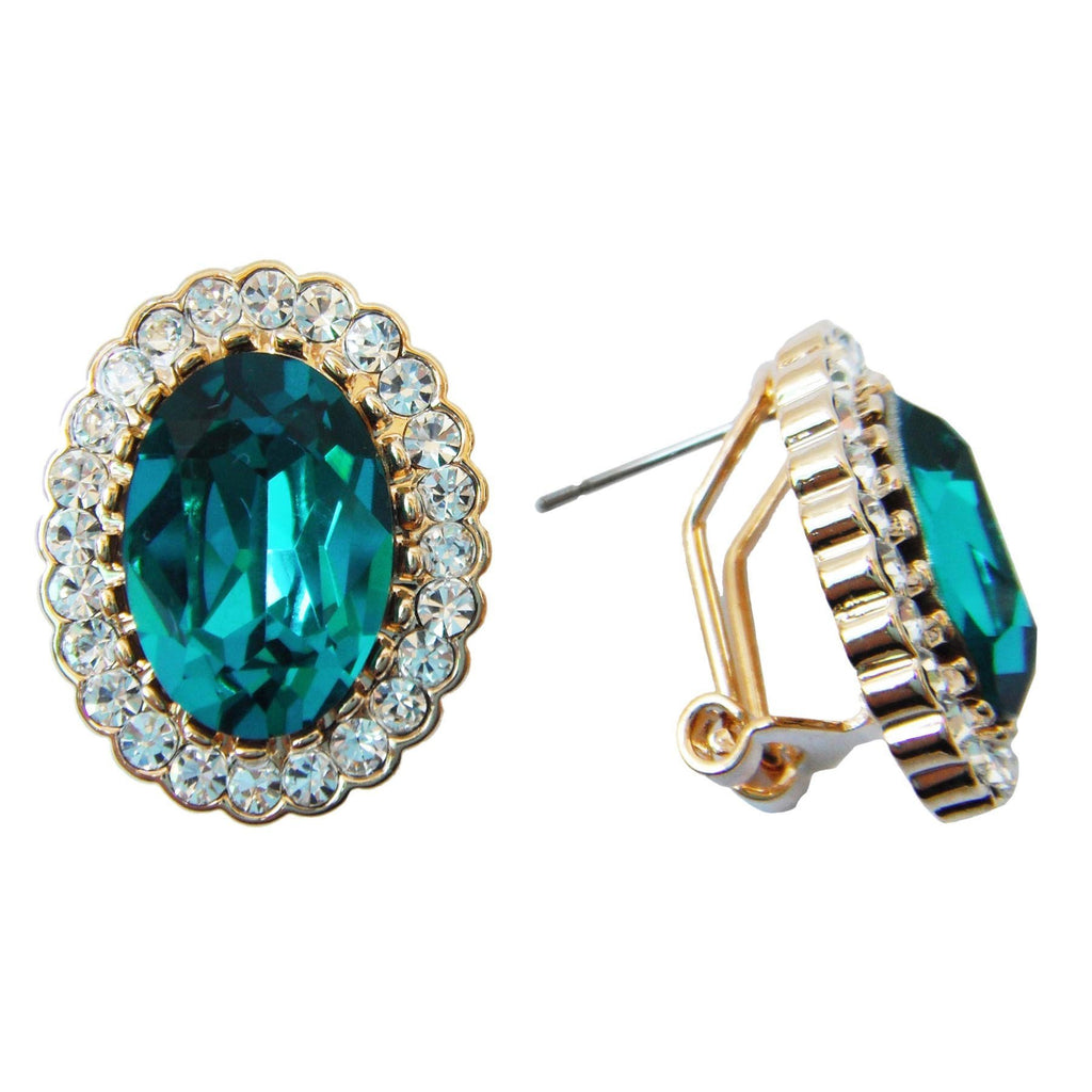 18k Gold Plated Oval Lake Blue Zircon Crystal Omega Earrings