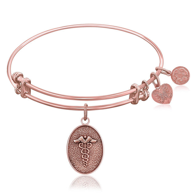 Expandable Bangle in Pink Tone Brass with Caduceus Staff Of Life Symbol