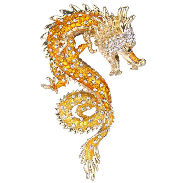 Women's Austrian Crystal Enamel Powerful Dragon Brooch Gold-Tone - InnovatoDesign