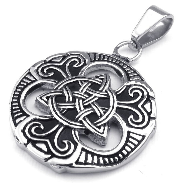 Men Women Celtic Knot Stainless Steel Pendant Necklace, Black Silver, 24 inch Chain