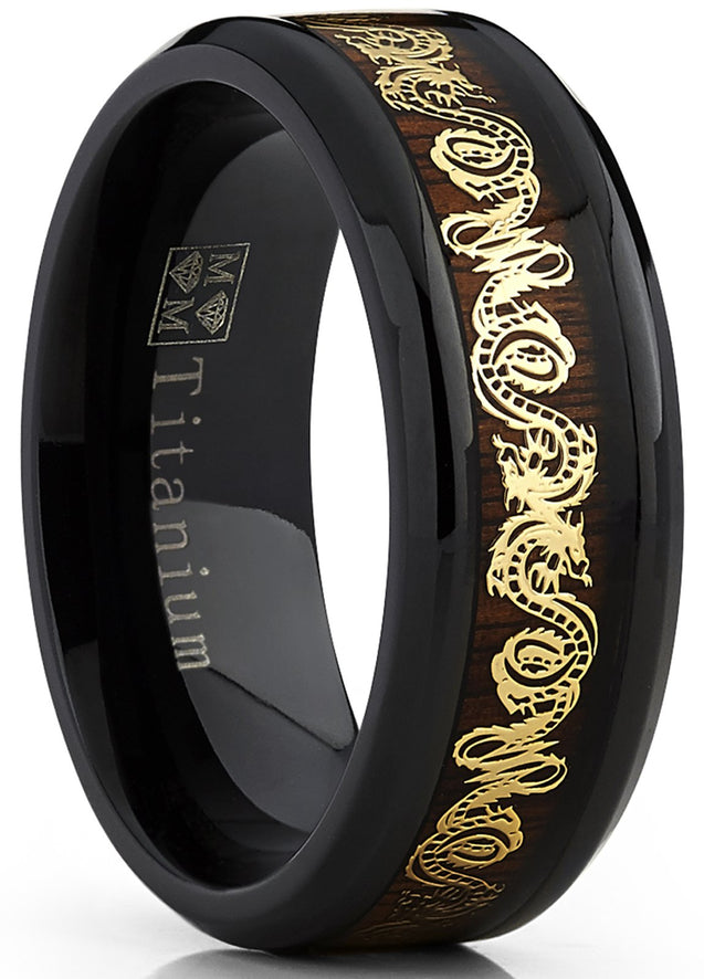 Men's Black Titanium Wedding Band Ring With Goldtone Dragon Inlay Over Real Wood - InnovatoDesign