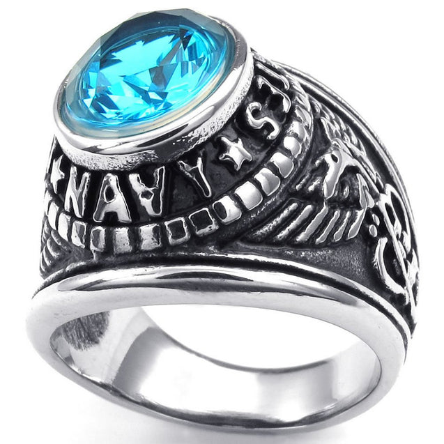 Men Cubic Zirconia Stainless Steel Ring, United States Navy Military, Blue - InnovatoDesign