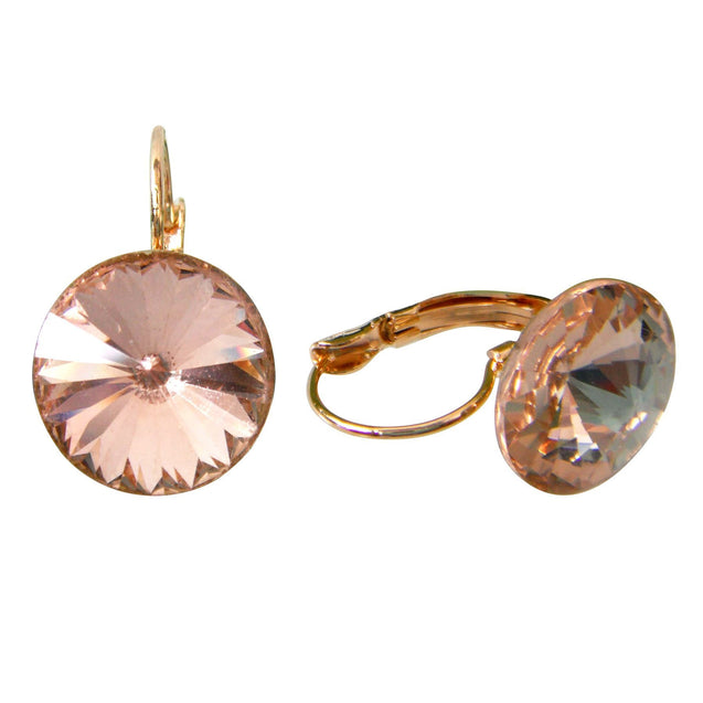 18k Gold Plated Big Circle Brown Crystal Az2843e Leverback Earrings