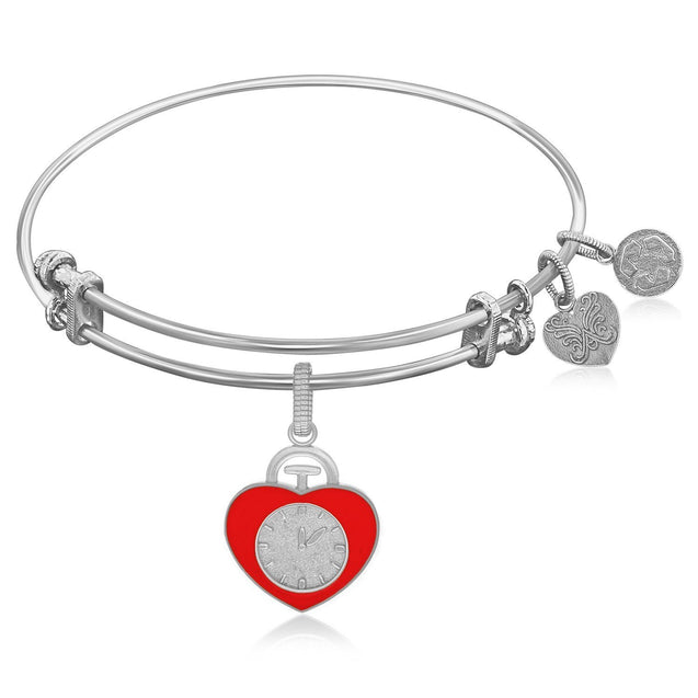 Expandable Bangle in White Tone Brass with Heart Badge Symbol