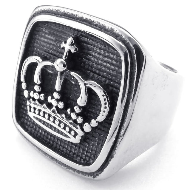 Men Stainless Steel Ring, Classic Gothic Crown Signet, Black