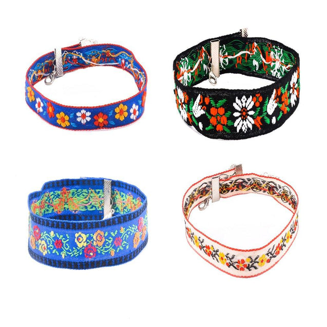 Bohemian Girls 90s Multicolor Embroidery Elastic Velvet Choker Necklace Set of 4