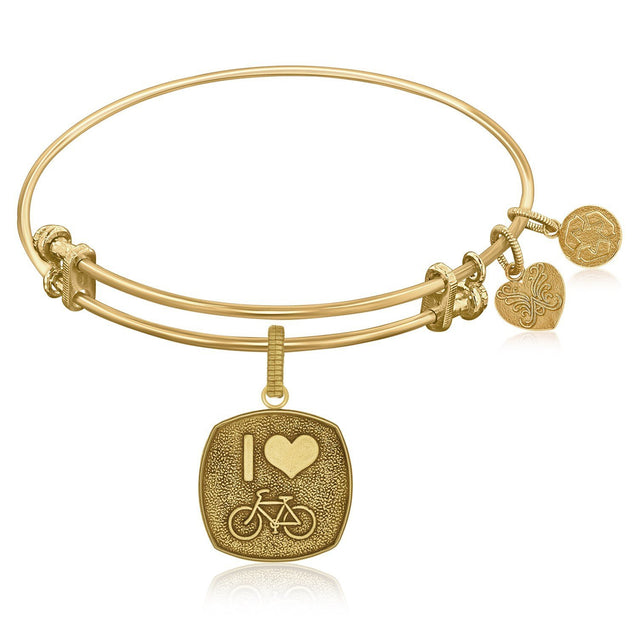 Expandable Bangle in Yellow Tone Brass with I Love Bicycling Symbol