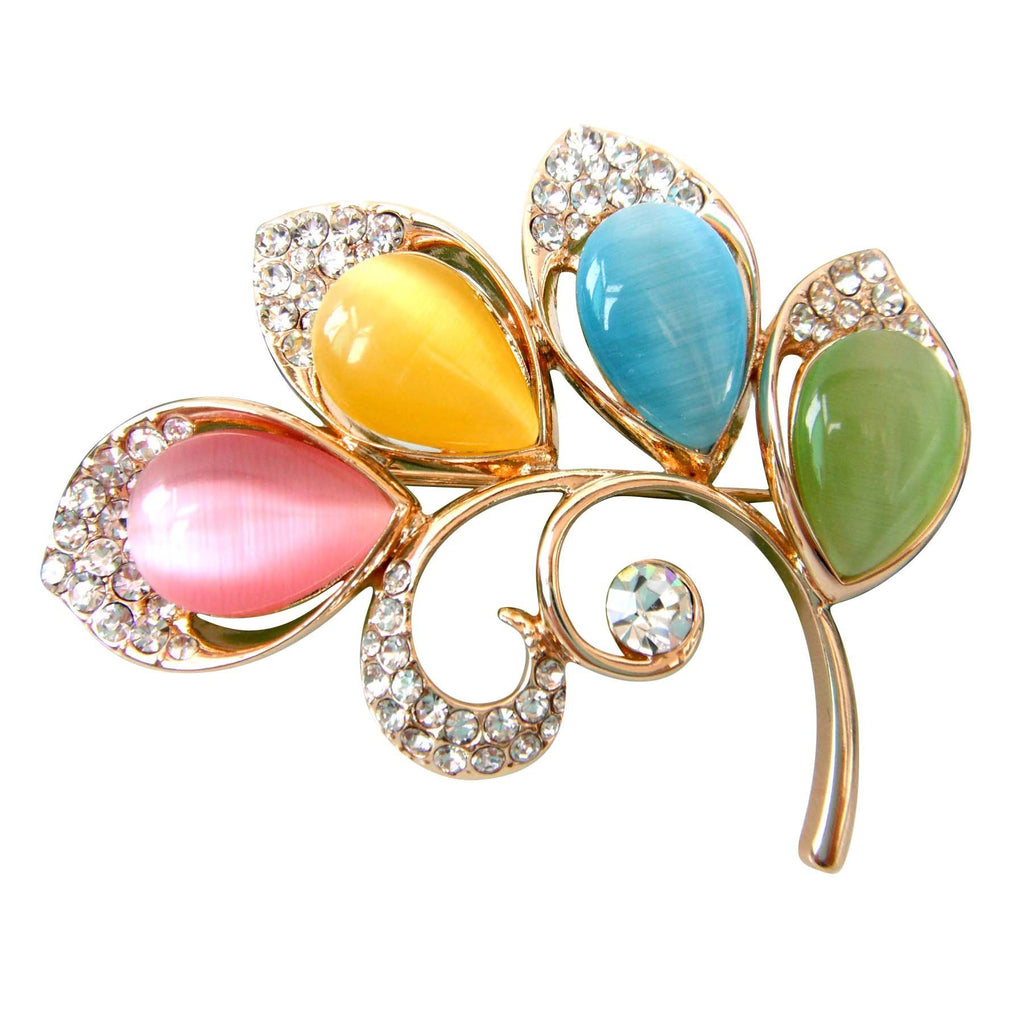 18k Gold Plated Colorful Opal Crystal Branches Leaves Az8034b Brooch Pin