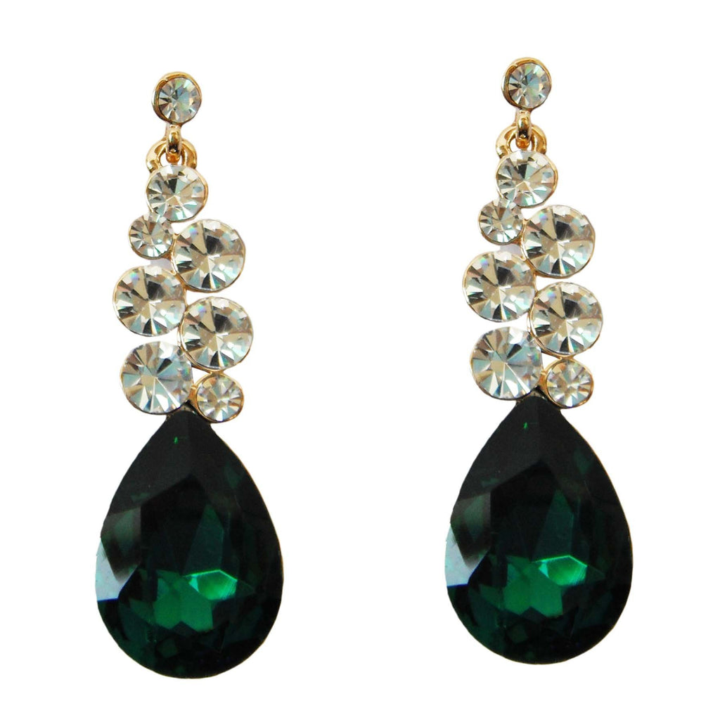 18k Gold Plated Clear Crystal Green Pear-shaped Zirconia Az1463d Drop Dangle Earrings