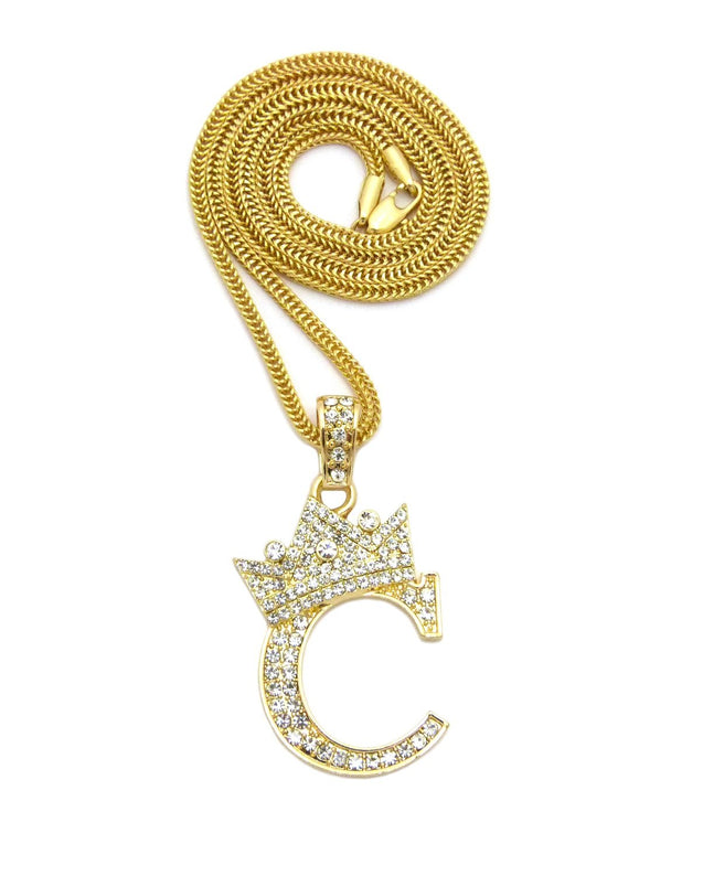 Iced Out King Crown Alphabet Initial C Pendant 24 Various Chain Necklace in Gold, Silver Tone - InnovatoDesign