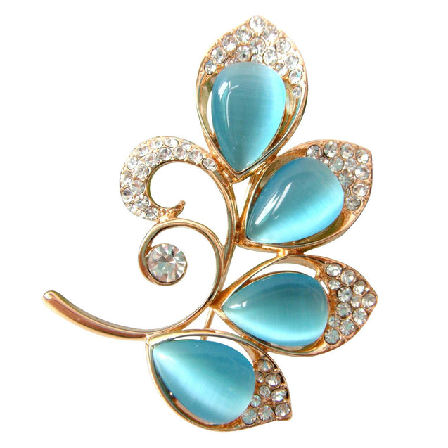 18k Gold Plated Blue Opal Crystal Branches Leaves Az7856b Brooch Pin