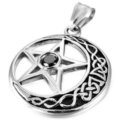Stainless Steel CZ Silver Pentacle Infinity Knot Pendant Necklace