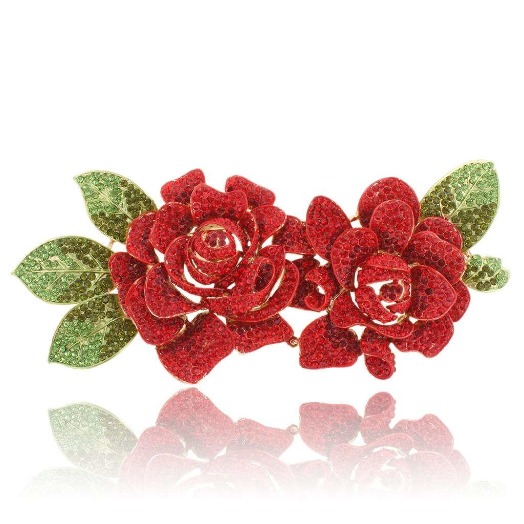 2 Romantic Rose Flower 7.8 Inch Brooch Red Austrian Crystal Gold-Tone