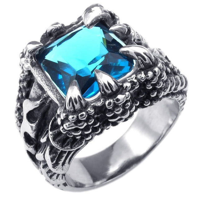Men Crystal Stainless Steel Ring, Gothic Dragon Claw, Blue - InnovatoDesign