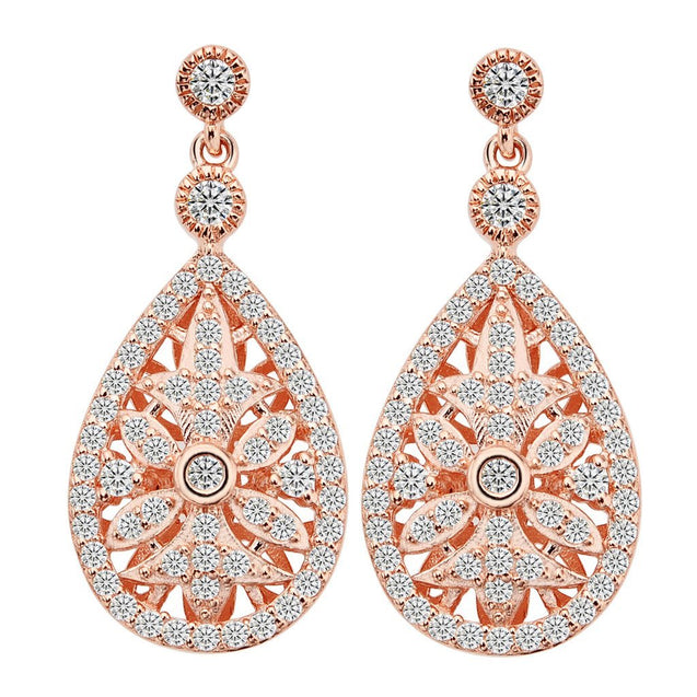 925 Sterling Silver Rose Gold-Tone CZ Hollow-out Gastby Inspired Chandelier Earrings Clear