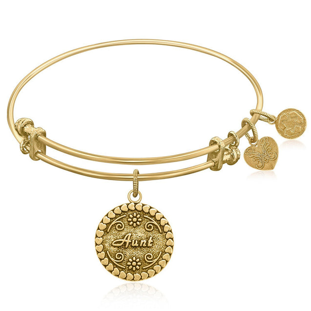 Expandable Bangle in Yellow Tone Brass with Aunt Symbol