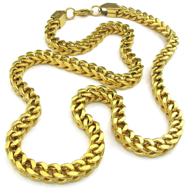 Men Stainless Steel Necklace, Heavy Biker Links Chain, Gold
