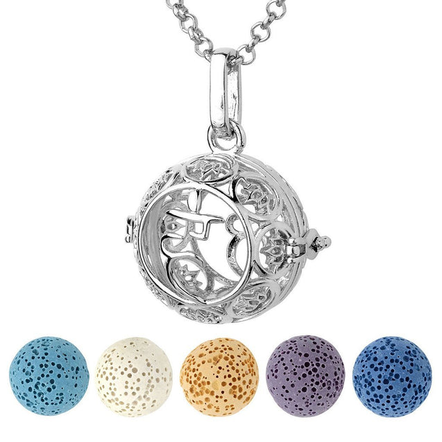 Aromatherapy Essential Oil Diffuser Necklace Silver 7 Chakras Locket Pendant