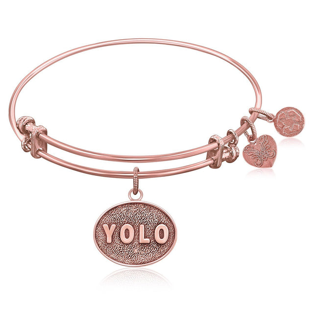 Expandable Bangle in Pink Tone Brass with YOLO symbol