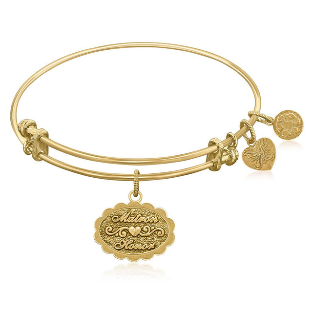 Expandable Bangle in Yellow Tone Brass with Matron Of Honor Symbol