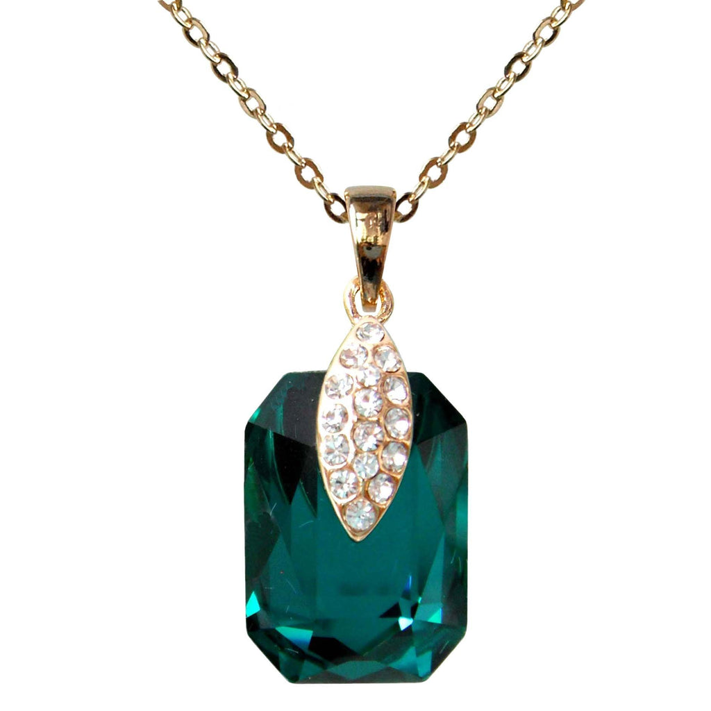 "18k Gold Plated Crystal Blue-green Square Zircon Az6022p Pendant Necklace 16""+2"""