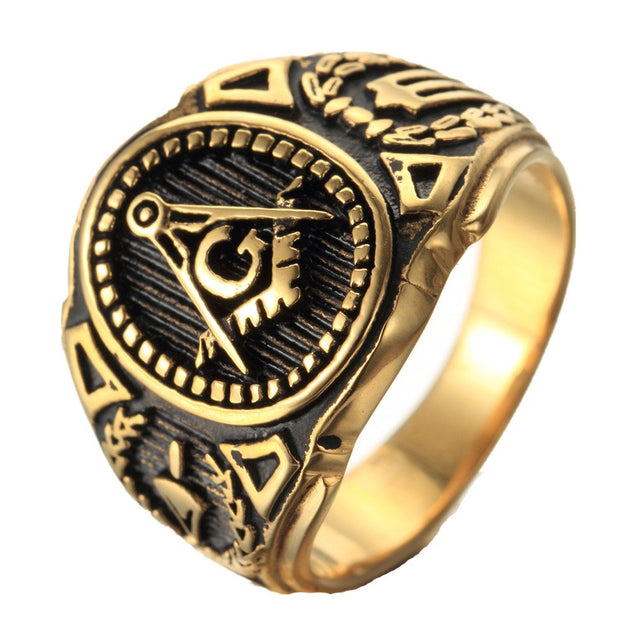 Mens Stainless Steel Ring,Freemason Masonic,Gold Black - InnovatoDesign