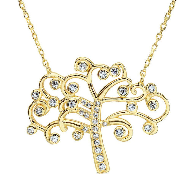 925 Sterling Silver CZ Stunning Tree of Life Woman Pendant Necklace Clear