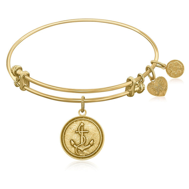Expandable Bangle in Yellow Tone Brass with Anchor Secure Future Symbol