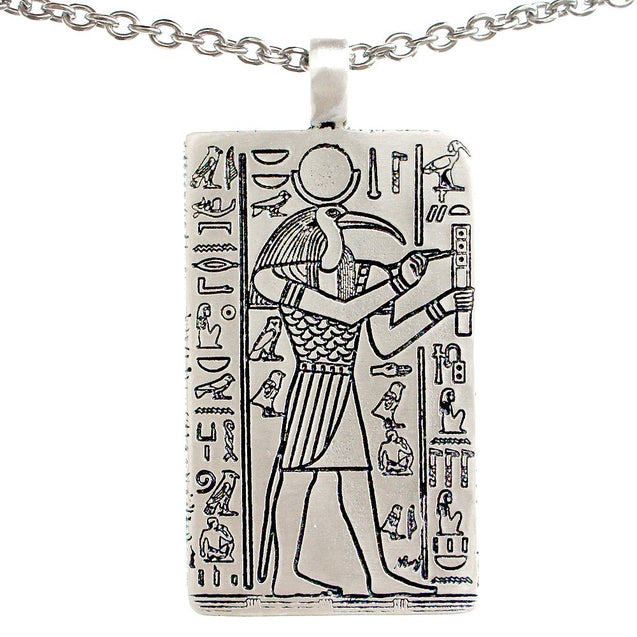 Thoth Egyptian deity Djehuti God Charm Amulet Pewter Pendant Stainless Steel Chain Necklace - InnovatoDesign